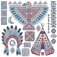26526008-Vintage-Tribal-native-American-set-of-symbols-Stock-Vector-tribal.jpg (1300×1300)