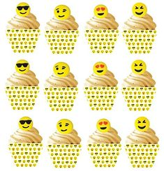 Emoji Sugar Decoration Toppers and 12 Emoji Cupcake Wrappers