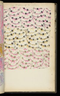 SAMPLE BOOK (FRANCE), 1890 Manufacturer's record book containing 532 examples of lightweight printed silk.  Some colorways. Some contemporary patterns.