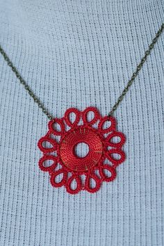 Kachin Necklace (Tatted Flower in Poppy and Bronze, by Christine). $24.00, via Etsy.