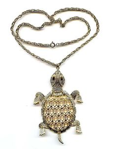 "Vtg 1970s Large 4.5"" Mod Articulated Turtle Gold Tone Pendant Necklace  #NotSigned #Pendant"