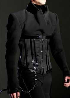 Men's Corset Detail, from Jean Paul Gaultier Fall 2012 Haute Couture collection † Fashion Mode, Look Fashion, Runway Fashion, High Fashion, Fashion Show, Mens Fashion, Fashion Outfits, Fashion Design, Style Couture
