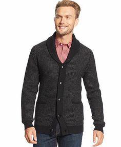Tasso Elba Sweater, Shawl Collar Two Color Marled Lambswool-Blend Cardigan
