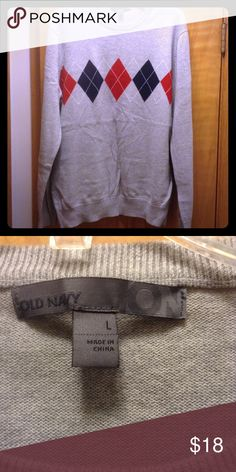 Old Navy men's sweater Gray, red and blue men's sweater Old Navy Sweaters V-Neck