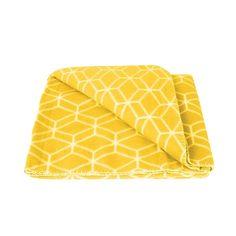 Fleeceplaid 'Hexagon' geel