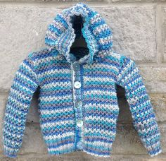 Hoodie Sweater Hooded Jacket Cardigan Striped by CJsHandknits on Etsy