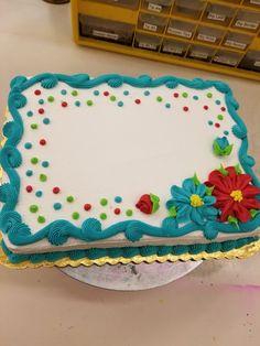 Cake Decorating Frosting, Creative Cake Decorating, Birthday Cake Decorating, Creative Cakes, Sheet Cake Designs, Simple Cake Designs, Simple Cakes, Wedding Sheet Cakes, Birthday Sheet Cakes