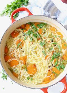 Vegan Vegetable Noodle Soup Recipe • Veggie Society Vegan Noodle Soup, Vegetable Noodle Soup, Soup Recipes, Whole Food Recipes, Vegetarian Recipes, Cooking Recipes, Pescatarian Recipes, Pasta Shapes, Vegan Soups