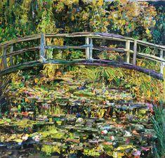 Artist Tom Deininger re-created Monet's 1899 masterpiece Bridge over a Pond of Water Lilies