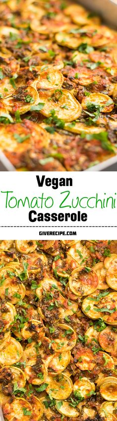 No cheese, no cream, no beef, no egg in this casserole, but it is bursting into summer flavors. This is an addictive zucchini casserole even for vegetable haters! | giverecipe.com
