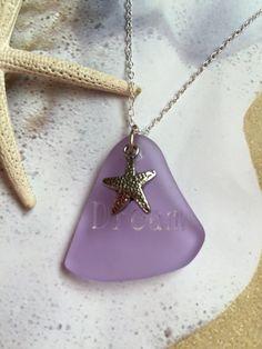 Purple Sea Glass Jewelry Sea Glass Necklace by SeasideJewelry1