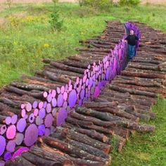 Beautiful environmental art installations using strategically placed painted sticks, logs, grocery bags, and other tools.