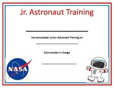 Space Stars This is a certificate to give to each child after your Space Theme week. Appropriate for preschool and kindergarten. The children LOVE earning the certificate at the end of the week. Space Theme Preschool, Preschool Science, Preschool Lessons, Space Activities For Kids, Outer Space Theme, Outer Space Party, Nasa, Space Classroom, Training Certificate