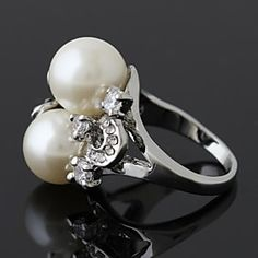 Wei Hua Elegant European Fashion Pearl Alloy Ring