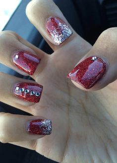 Christmas Nails, glitter nails, red, acrylic, holiday nails, rhinestones, red glitter, cute nails