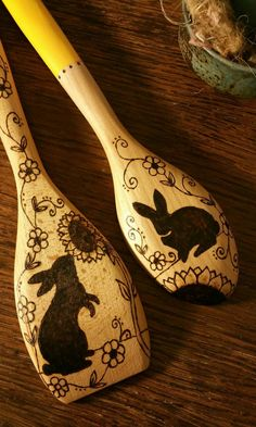 Sweet garden rabbits, hand-burned on lovely chunky wood kitchen spoons. One is a spoon/spatula. They measure 12 long.  Hand washing is recommended.