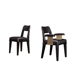 Vespertine Chair And Chair With Arms Contemporary, Metal, Leather, Wood, Seating by Promemoria Contemporary Furniture, Cool Furniture, Furniture Design, Dinning Chairs, Mid Century Dining Chairs, Large Chair, Compact Table And Chairs, Used Chairs, Sofa Chair