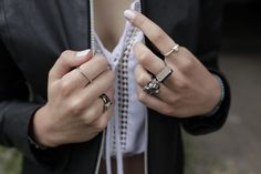 Rings – Set of four sterling silver rings – a unique product by ZiZouArt on DaWanda