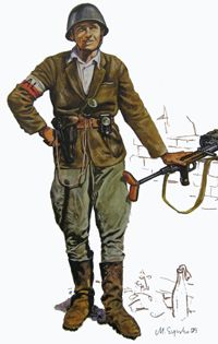 Warsaw Uprising participants had elements of captured german arms and uniforms. Some polish uniforms, especcialy helmets, are taken from hides. They were left by polish defenders in 1939 and waited for next fight. There were also some british and soviet stuff and of course civilian clothes. Polish eagles and white and red colours were added to this mix of uniforms.