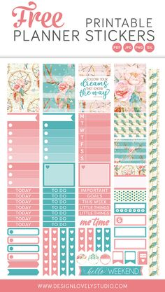 Free printable planner stickers from Design Lovely Studio! Click the image to get your free gift! Beautiful pink and turquoise stickers with floral motifs. To Do Planner, Mini Happy Planner, Free Planner, Planner Journal, Journal Notebook, Free Printable Planner Stickers, Bujo, Planner Decorating, Planner Organization