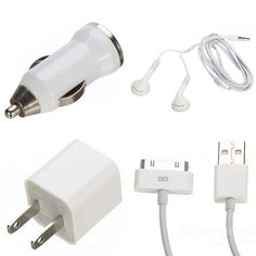 iPhone 4S 4 iPod Car Home Charger USB Cable Earphone ACCESSORY Bundle