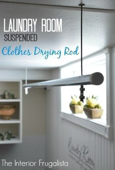 diy suspended clothes drying rod for the laundry room, diy, how to, laundry rooms, organizing