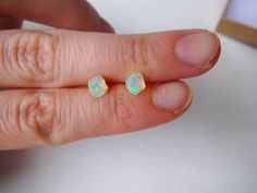 Rough Opal and Sterling Silver Post Earrings - For Her; Graduation; Wedding Gift; Mother's Day; For Mom on Etsy, $40.00