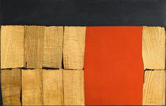Alberto Burri. Black Red Wood, 1960. Wood veneer, acrylic, and Vinavil on canvas, cm. 83 x 133. Private collection, courtesy Galleria dello Scudo, Verona | Katarte