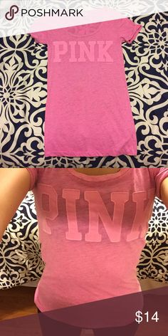 XS VS PINK top Super cute VS PINK top only work a few times! In perfect condition!! PINK Victoria's Secret Tops Tees - Short Sleeve