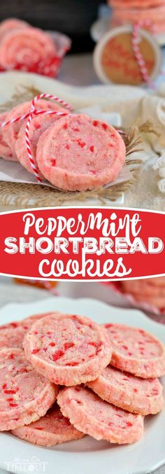These festive Peppermint Shortbread Cookies are the perfect addition to your holiday cookie trays this year! With only five ingredients, they are quick and easy to make and look so gosh darn pretty! (easy to make christmas cookies) Cookie Tray, Cookie Desserts, Holiday Desserts, Holiday Baking, Holiday Treats, Holiday Recipes, Christmas Recipes, Meringue Desserts, Pink Desserts