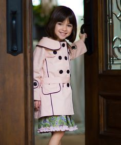 Look at this Pink & Black Audrey Coat - Girls on #zulily today!