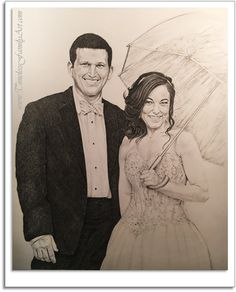 Beau Wedding In The Rain Pencil Drawing By Mike Kitchens Timeless Family Art