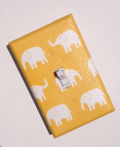 Yellow Elephant / Light Switch Plate Cover / Unisex Gender Neutral / Baby Boy Nursery Decor / Kids Room / Kawaii  / Japanese Fabric. $9.00, via Etsy.