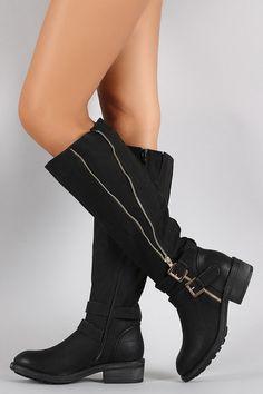 Buckle Zipper Round Toe Riding Knee High Boot