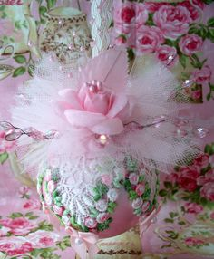 Shabby Pink Chic Christmas Ornament, Pink Roses, Venice Lace, Pearls, Pink Tulle…