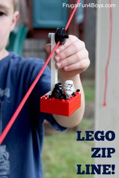How to Build a LEGO Zipline by frugalfun4boys: Lots of fun without so many pieces. #LEGO