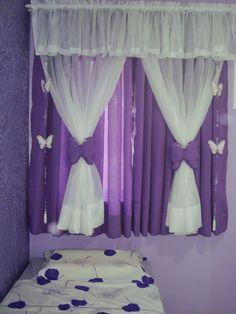 Cortinas para niñas Cute Curtains, Pink Curtains, Crochet Curtains, Curtain Patterns, Curtain Designs, My Room, Girl Room, Kids Bedroom, Bedroom Decor