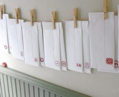 Easy Advent Calendar using envelopes.  Fill with scripture or activities to do, random acts of kindness to do, etc.