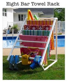 PVC Pool Towel Rack! So much better than covering the entire deck and furniture in wet towels! | Look around!