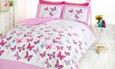 Shop for Butterfly Duvet Set - Pink - Double Bed Size Bedding Cover Set. Starting from Choose from the 3 best options & compare live & historic home bed and bath prices. Teen Bedding Sets, Cotton Bedding Sets, Nursery Bedding Sets, Duvet Sets, Duvet Cover Sets, Double Duvet Covers, Single Duvet Cover, Bed Covers, Double Bed Size