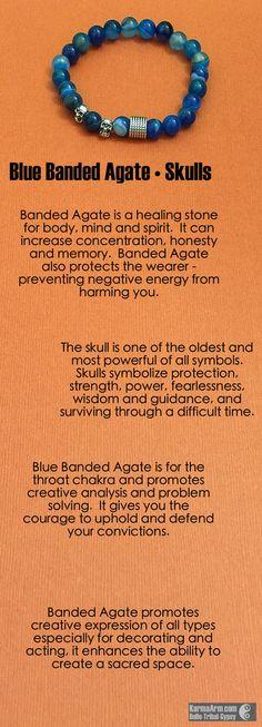 CREATE: Blue Banded Agate • Skulls Yoga Mala Bracelet