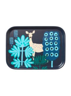 Kaunis Kauris blue tray, deer in woods, Marimekko design