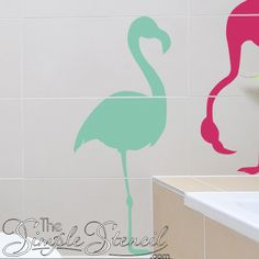 Custom Vinyl Flamingos in your choice of color and size, large and small scale to complete your tropical paradise room or party decor! Wall Decor Crafts, Vinyl Decor, Bathroom Wall Decor, Vinyl Crafts, Vinyl Wall Decals, Tropical Bathroom, Tropical Decor, Custom Vinyl, Removable Wall