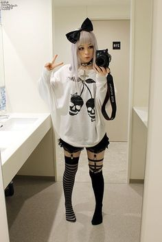 black & white pastel/nu goth.; for me, everything is perfect but the bow. still it's pretty cute!