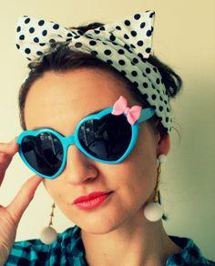 BLUE HEART Sunglasses.handmade. pink. retro. by retroandme on Etsy, $12.00