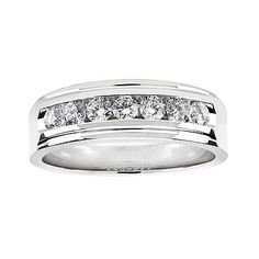 Diamond Wedding Band for Him in 18kt White Gold