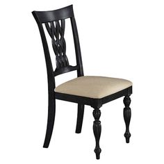 A perfect addition to your eat-in kitchen or dining room, this wood side chair showcases a lattice back and turned front legs.      Prod...