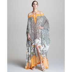 Roberto Cavalli Long Printed Cold-Shoulder Caftan ($1,625) ❤ liked on Polyvore