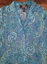 Carmen Marc Valvo Bohemian Beaded Silk Gypsy Paisley Shirt Jacket Size10  eBay