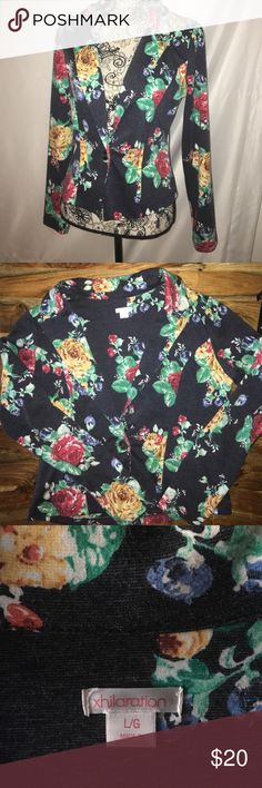XHILERATION FLORAL BLAZER Absolutely stunning Floral blazer from xhileration. This item will make any outfit POP it is THAT amazing. Size large. I would sat best fit is 8-10, but it does have some stretch💕 thanks for looking Xhilaration Jackets & Coats Blazers